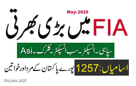FIA jobs 2021 advertisement | Apply Online Federal Investigation Agency